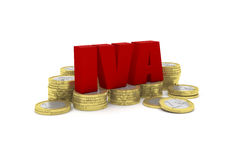 3D render illustration of several one euro coin stacks with the word IVA. Highly detailed 3D render illustration of several one euro coin stacks with the word Royalty Free Stock Photo