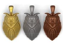 Owl pendants - gold silver and copper. 3D render illustration of three owl pendants. One pendant is made of gold, one from silver and the other one from copper Stock Images