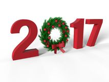 2017 red Christmas ornament illustration. 3D render illustration of the 2017 year colored in red and with a Christmas ornament positioned instead of the 0 number Royalty Free Illustration