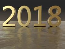 2018 gold year figures. 3D render illustration of the 2018 year. The number is positioned on a reflective metallic surface Stock Images