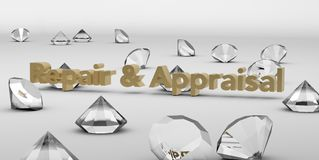 Diamond repair and Appraisal Services. 3D render illustrations of diamond repair and Appraisal Services Stock Photos
