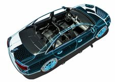 Car interior development process. 3D render image of an car in wire frame representing a car interior development process Royalty Free Stock Images
