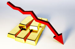3d render image of golden bars with declining graph. 3d render image of golden bars with chart Royalty Free Stock Photos
