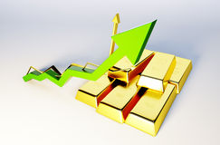 3d render image of golden bars with growing graph. 3d render image of golden bars with growing arrow Royalty Free Stock Image