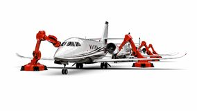 Automated Airplanes factory line. 3D render image representing an Automated Airplanes factory with robots Stock Photos