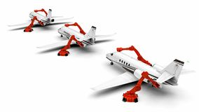 Automated Airplanes factory line. 3D render image representing an Automated Airplanes factory with robots Stock Photo