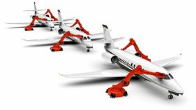 Automated Airplanes factory line. 3D render image representing an Automated Airplanes factory with robots Stock Image