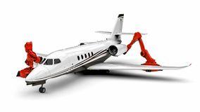 Automated Airplanes factory line Stock Photography