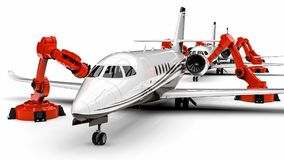 Automated Airplanes factory line Stock Photos