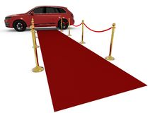 Waiting limousine on a red carpet Stock Images