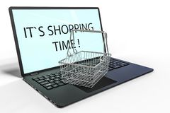 3D render image representing online shopping. 3D render image of a laptop with a grocery basket vector illustration