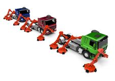 Truck Assembly line. 3D render image representing a truck assembly line vector illustration
