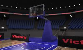 3d rendering of the basketball stadium with lights. 3d render of indoor basketball stadium with lights Royalty Free Stock Photography