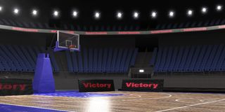3d rendering of the basketball stadium with lights. 3d render of indoor basketball stadium with lights Stock Image