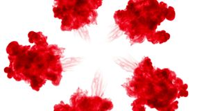 3d render red ink in water on white background with luma matte as alpha mask for ink effects or background. circular