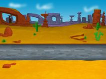 Cartoon road going left to right across a desert background - 3D Illustration vector illustration