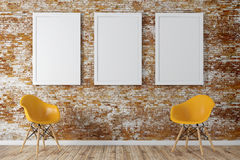 3d render of interior  with a blank frames and wooden floor Royalty Free Stock Photo