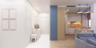 3d illustration of the interior design of an apartment in Scandi. 3d render of the interior design of an apartment in Scandinavian style. Architectural royalty free illustration