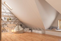 3d render interior design of the attic floor of a private cottage stock images