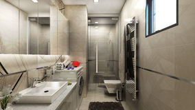 3D render of interior design of bathroom Royalty Free Stock Images