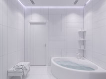 3d render interior design of a bathroom. 3d illustration interior design of a bathroom with purple tiles in a modern style. Picture without textures and colors Stock Images