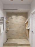 3d render of interior design bathroom. 3d illustration of interior design bathroom with a tile woodgrain Stock Photos
