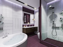 3d render interior design of a bathroom. With purple tiles in a modern style Stock Images