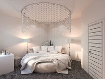 3d render interior design bedroom displayed in the polygon mesh. Royalty Free Stock Images