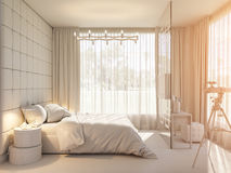 3d render of an interior design of a bedroom. 3d illustration of an interior design of a bedroom in Scandinavian style. Visualization of a bedroom without Royalty Free Stock Photography
