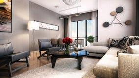 3D render of interior design Stock Image
