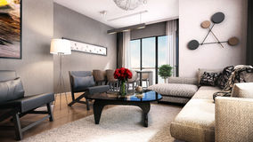 3D render of interior design Stock Photos