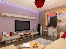 3d render of the interior design of the living room in a modern s Royalty Free Stock Photos