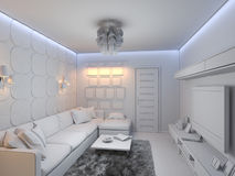 3d render of the interior design of the living room in a modern s Stock Photography