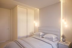 3d render of an interior design of a white minimalist bedroom. Royalty Free Stock Photo