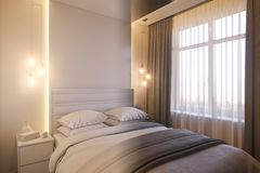 3d render of an interior design of a white minimalist bedroom royalty free illustration