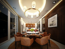 3d render of interior dining room Stock Photography
