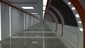 3d render interior. Futuristic hallway. Stock Images