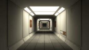 3d render interior. Futuristic hallway. Stock Photos
