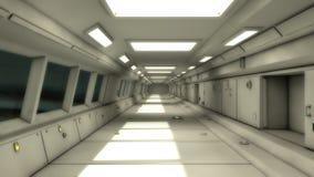 3d render interior. Futuristic hallway. Royalty Free Stock Images