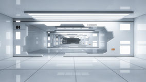 3d render interior. Futuristic hallway. Stock Photo