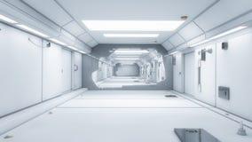 3d render interior. Futuristic hallway. Stock Photography
