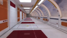 3d render interior. Futuristic hallway. Royalty Free Stock Photos