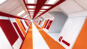 3d render interior. Futuristic hallway. Royalty Free Stock Photo