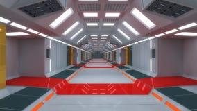 3d render interior. Futuristic hallway. Stock Image