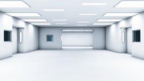 3d render interior. Futuristic hallway. Royalty Free Stock Photo