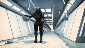 3d render interior. Futuristic hallway. Royalty Free Stock Image