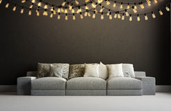 3d render of interior with garland Royalty Free Stock Photos