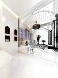 3d render of interior  luxurious bathroom Stock Photos