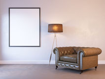 3d render of a interior mock-up with a poster Royalty Free Stock Photography