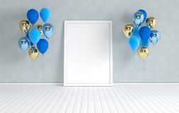 3d render interior with realistic glossy purple metallic foil and colorful balloons and empty poster frame in the room. Empty vector illustration